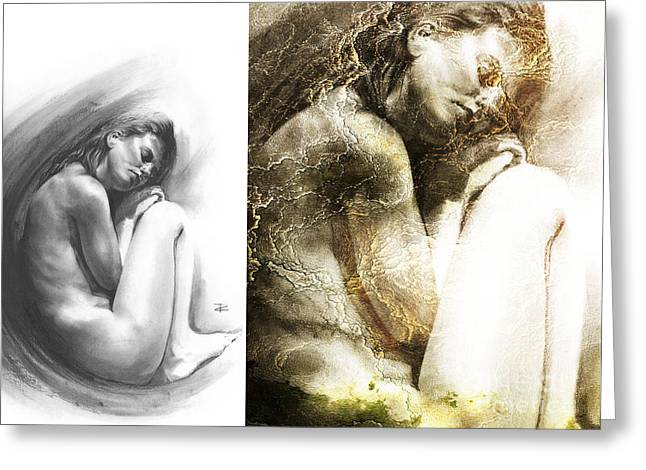 Nude Overlay Greeting Cards - Embryonic Compilation Greeting Card by Paul Davenport