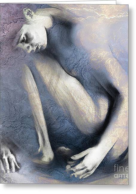 Nude Overlay Greeting Cards - Embryonic II. Textured Greeting Card by Paul Davenport