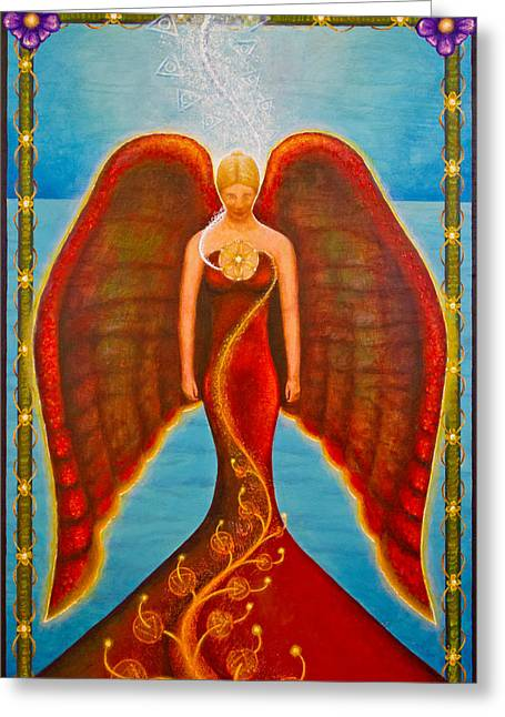 Spiritual Greeting Cards - Emeliah Angel of Inner Journeys Greeting Card by Kevin Chasing Wolf Hutchins