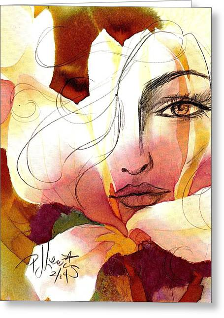 Pretty Face Greeting Cards - Emely Greeting Card by P J Lewis