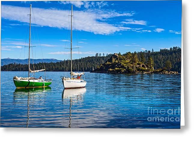 Enjoying Greeting Cards - Emerald Bay Boats Greeting Card by Jamie Pham