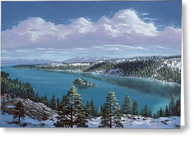 Snow Tree Prints Paintings Greeting Cards - Emerald Bay - Lake Tahoe Greeting Card by Del Malonee