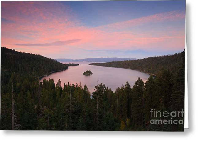 Dark Woods At Sunset. Greeting Cards - Emerald Bay Greeting Card by Mariusz Blach