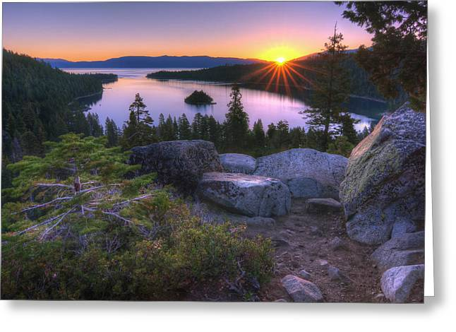 Sun Ray Greeting Cards - Emerald Bay Greeting Card by Sean Foster