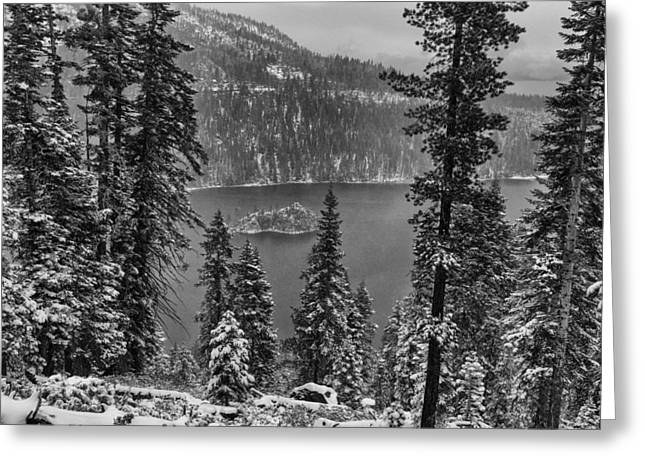Firsts Pyrography Greeting Cards - Emerald Bay Snowfall Greeting Card by John Ferebee
