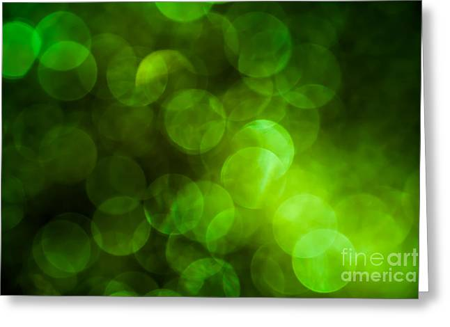 Vivid Colour Greeting Cards - Emerald Bokeh Greeting Card by Jan Bickerton