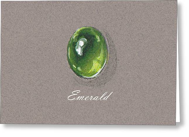 Carat Paintings Greeting Cards - Emerald cabochon Greeting Card by Marie Esther NC