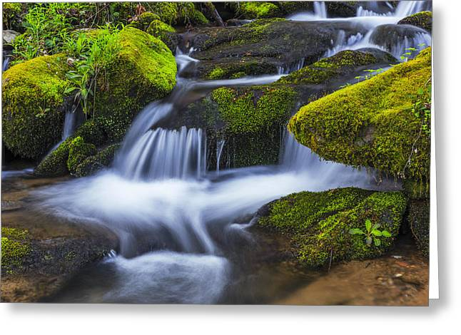 Smoky Greeting Cards - Emerald Cascade Greeting Card by Mike Lang