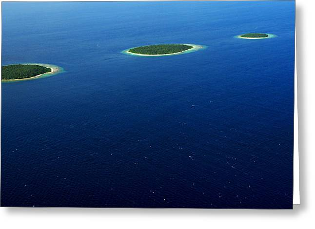 Tropical Oceans Greeting Cards - Emerald Chain. Maldivian Islands in Row Greeting Card by Jenny Rainbow