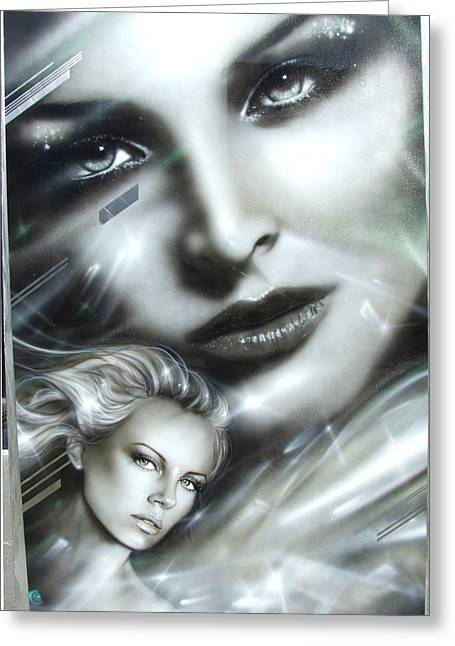 Charlize Theron - ' Emerald ' Greeting Card by Christian Chapman Art