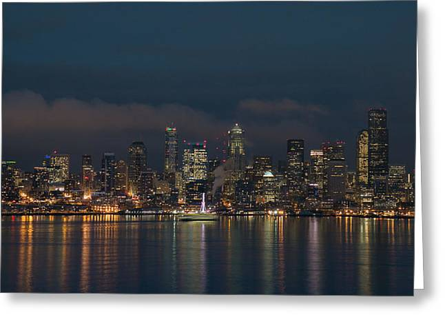 Lights Reflecting On Water Greeting Cards - Emerald City at Night Greeting Card by E Faithe Lester