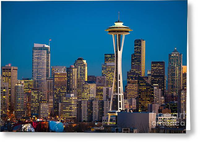 Architecture Greeting Cards - Emerald City Evening Greeting Card by Inge Johnsson