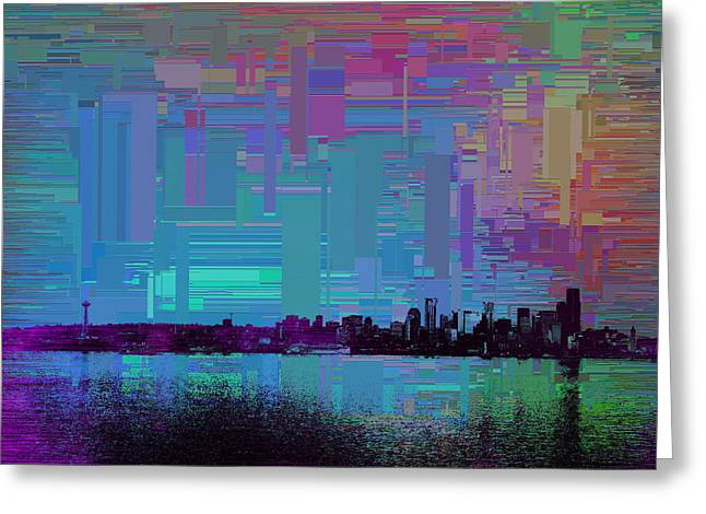 Blue Green Wave Greeting Cards - Emerald City Skyline Cubed Greeting Card by Tim Allen