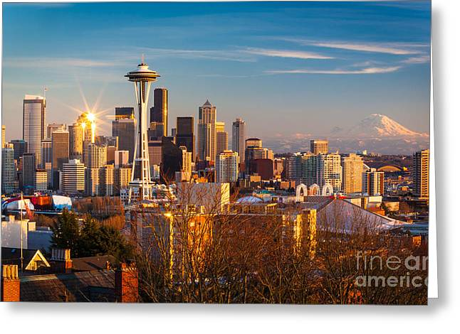 Space Needle Greeting Cards - Emerald City Sunset Greeting Card by Inge Johnsson