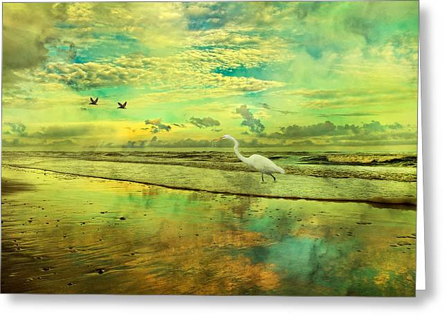 Topsail Island Greeting Cards - Emerald Evening Greeting Card by Betsy A  Cutler