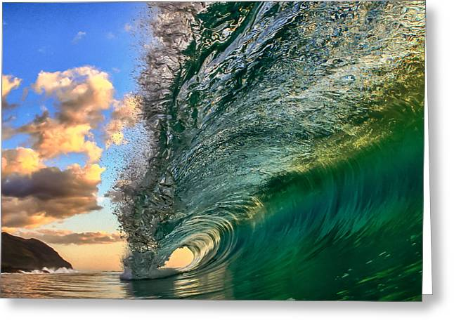 Recently Sold -  - Surfing Art Greeting Cards - Emerald Evening Greeting Card by Gregg  Daniels