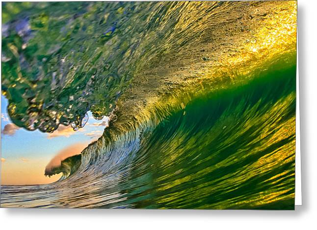 Surfer Art Greeting Cards - Emerald Evening Greeting Card by Gregg  Daniels