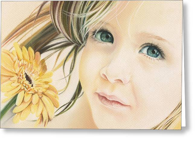 Portrait With Flowers Greeting Cards - Emerald Eyes Greeting Card by Natasha Denger