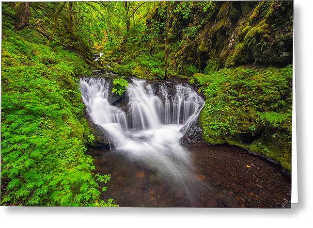 Emerald Greeting Cards - Emerald Falls Greeting Card by Joseph Rossbach