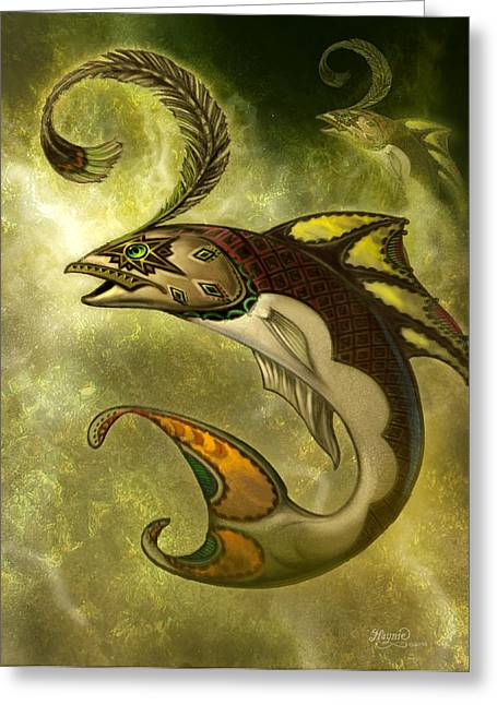 Wall Hanging Greeting Cards - Emerald fish Greeting Card by Jeff Haynie