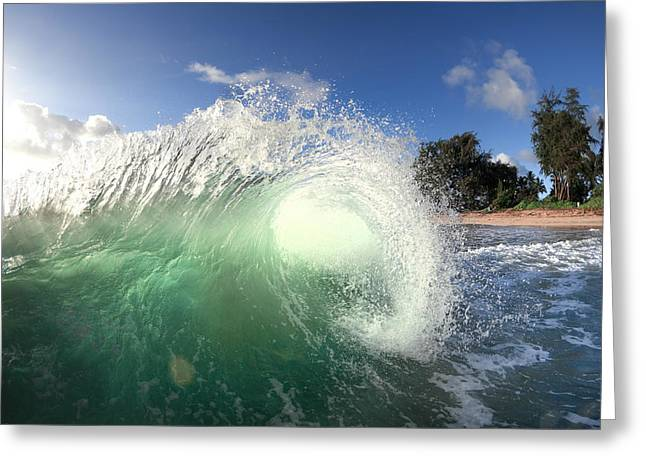 Ocean Energy Greeting Cards - Emerald Flare Greeting Card by Sean Davey
