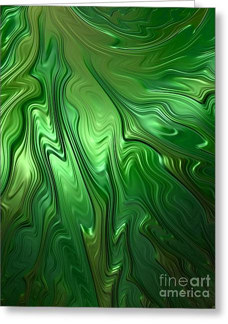 Emerald Green Abstract Greeting Cards - Emerald Flow Greeting Card by John Edwards
