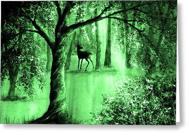 Kinkade Greeting Cards - Emerald Forest Greeting Card by Ann Marie Bone