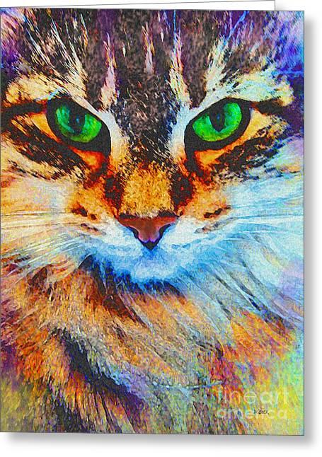 Robert R Mixed Media Greeting Cards - Emerald Gaze Greeting Card by John Robert Beck
