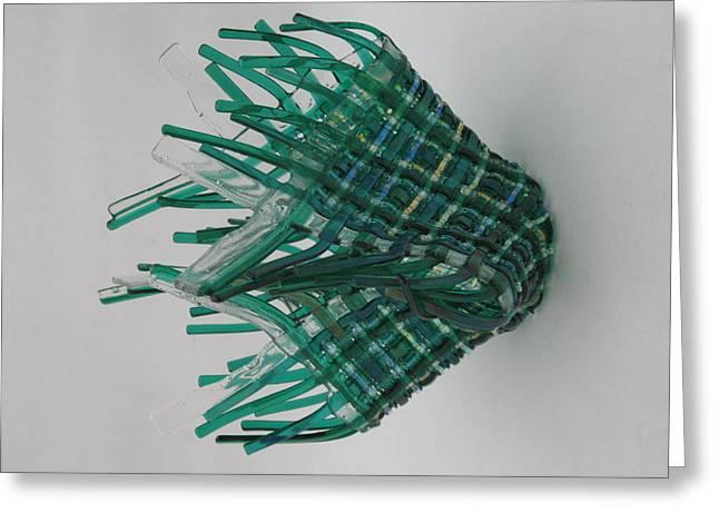 Fused Glass Art Greeting Cards - Emerald Glassket Greeting Card by Steven Schramek
