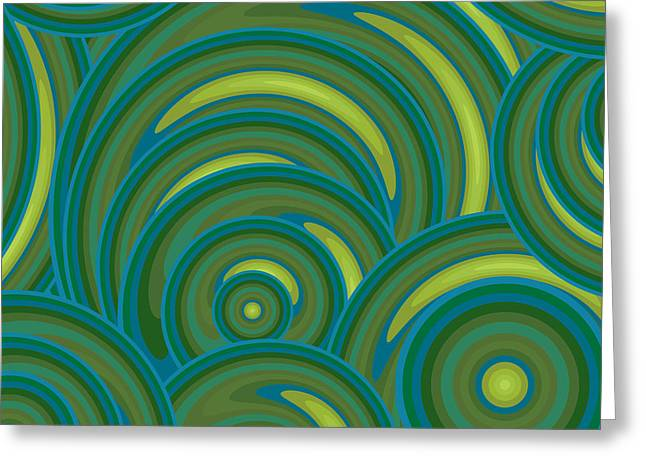 Oversized Art Greeting Cards - Emerald Green Abstract Greeting Card by Frank Tschakert