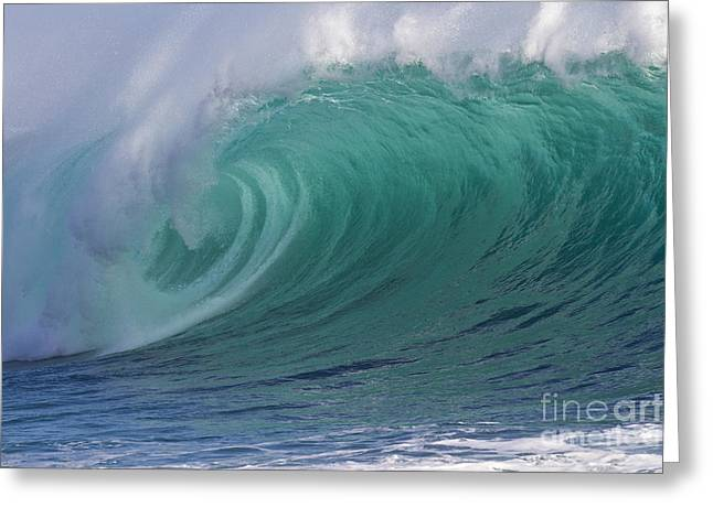 Heiko Greeting Cards - Emerald green breaking wave tube Greeting Card by Heiko Koehrer-Wagner