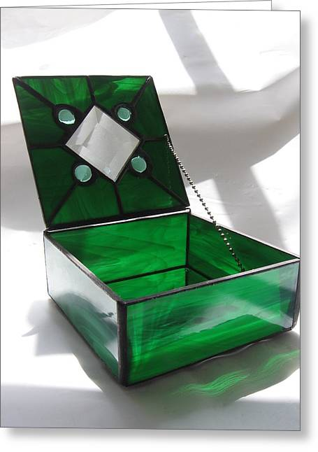 Jewelry Glass Art Greeting Cards - Emerald Green Stained Glass Jewelry Keepsake Box Greeting Card by Wendy Wehe-Ballone