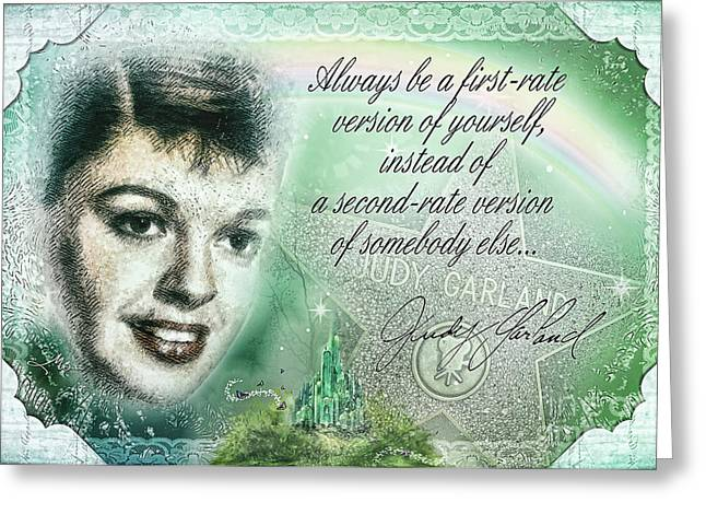 Mo T Mixed Media Greeting Cards - Emerald Judy Greeting Card by Mo T