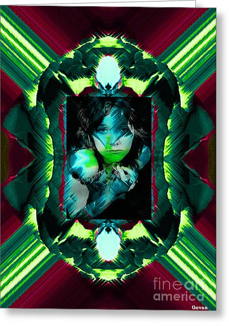 Creative Manipulation Photographs Greeting Cards - Emerald Lady Greeting Card by Andrew Govan Dantzler