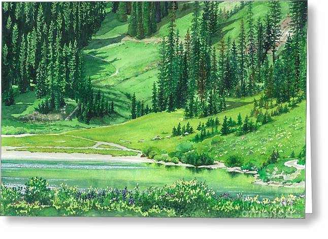 Emerald Lake Greeting Card by Barbara Jewell