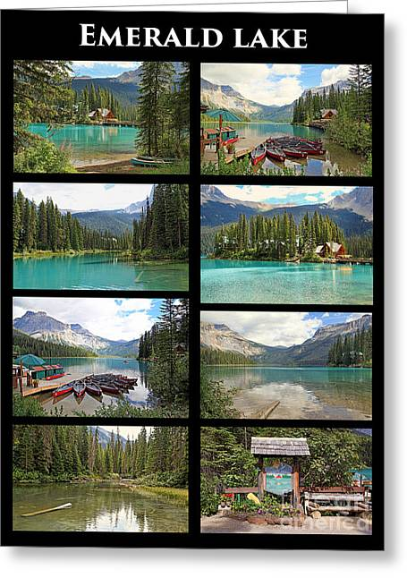 Canoe Greeting Cards - Emerald Lake Collage Greeting Card by Kerry Gergen