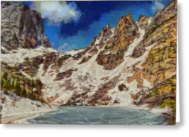 National Park Mixed Media Greeting Cards - Emerald Lake Rocky Mountain National Park Greeting Card by Dan Sproul