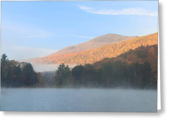 Emerald Lake Vermont Autumn Morning  Greeting Card by John Burk