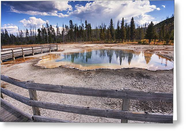 Geothermal Greeting Cards - Emerald Pool Greeting Card by Mark Kiver