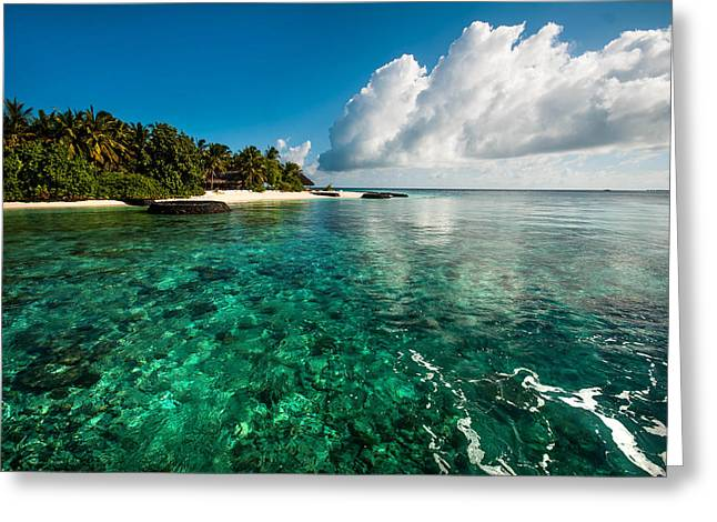 Best Ocean Photography Greeting Cards - Emerald Purity. Kuramathi Resort. Maldives Greeting Card by Jenny Rainbow