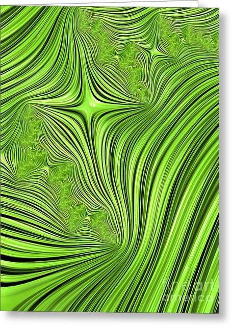 Abstract Shapes Greeting Cards - Emerald Scream Greeting Card by John Edwards