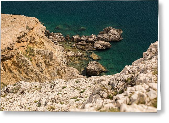 Green Pastel Greeting Cards - Emerald Sea Greeting Card by Davorin Mance