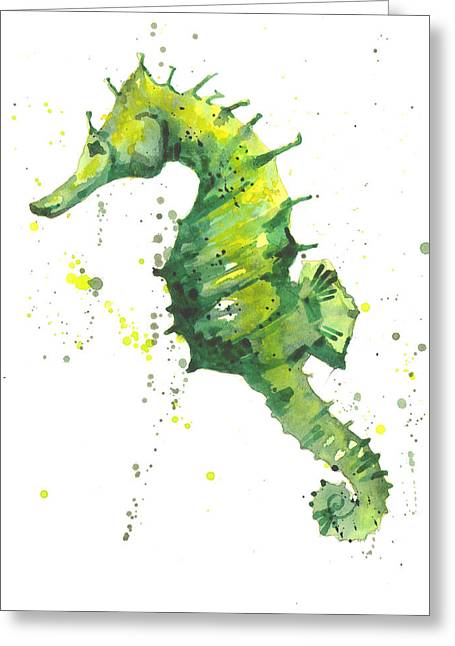 Emerald Seahorse Greeting Card by Alison Fennell