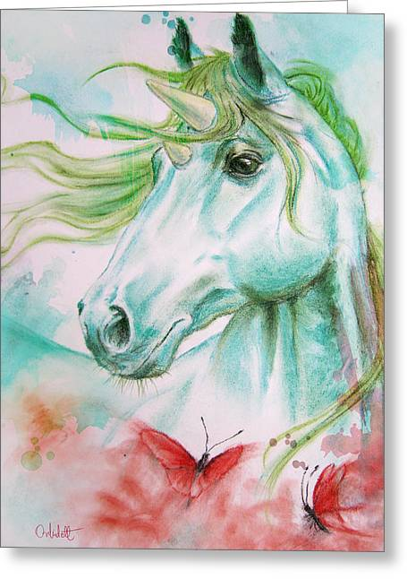 Fantasy Pastels Greeting Cards - Emerald Unicorn Greeting Card by Bernadett Kovacs