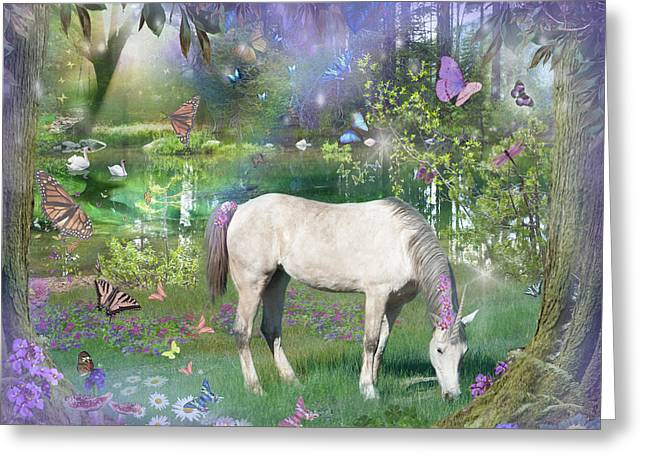 Emerald Greeting Cards - Emerald Unicorn Variant 1 Greeting Card by Alixandra Mullins