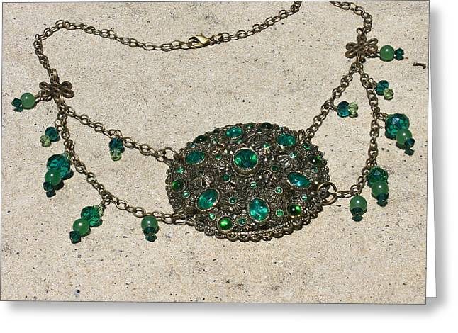 Design Jewelry Greeting Cards - Emerald Vintage New England Glass Works Brooch Necklace 3632 Greeting Card by Teresa Mucha