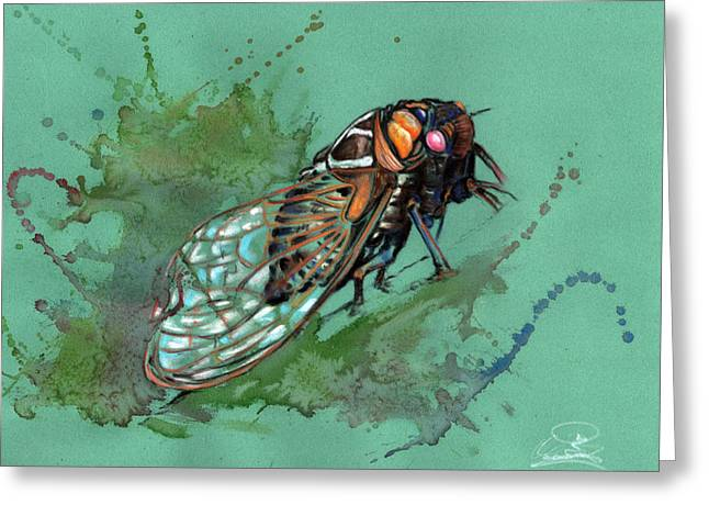 Sizes Pastels Greeting Cards - Emerge of the fly Greeting Card by Ole Hedeager Mejlvang