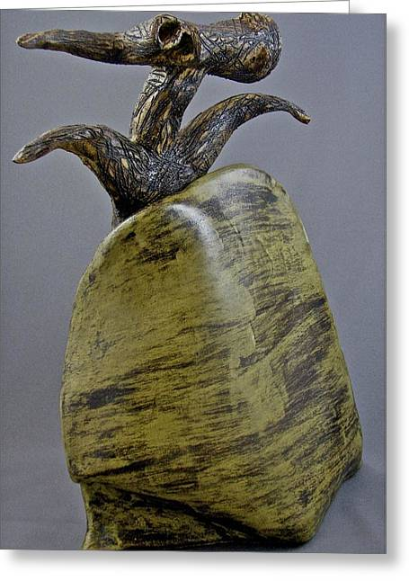Transformations Ceramics Greeting Cards - Emergence #4 Greeting Card by Mario Perron