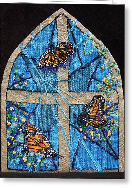 Christian Tapestries - Textiles Greeting Cards - Emergence Greeting Card by Annelle Woggon