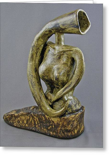 Surrealism Ceramics Greeting Cards - Emergence - Golda Meir Greeting Card by Mario Perron